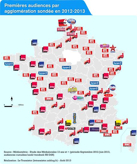 L'atlas de l'audience radio en France dans Actualité letransistor_aout2013_carte-medialocales-agglomerations_2012-2013_ptite